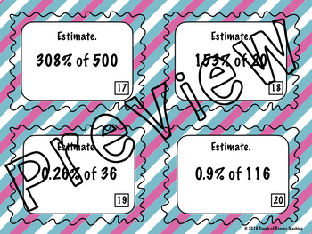 Finding and Estimating Percentages Task Cards
