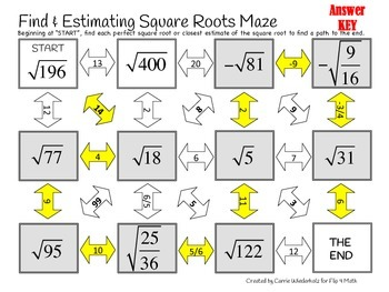finding and estimating square roots maze by flip 4 math tpt. Black Bedroom Furniture Sets. Home Design Ideas