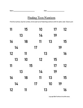 Teen Number Identification- Finding and Identifying Teen Numbers