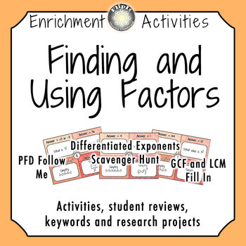 Finding and Using Factors Activities