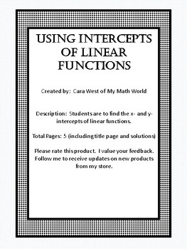 Finding and Using Intercepts of Linear Functions
