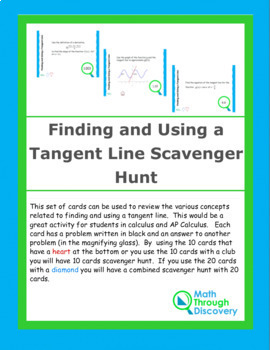 Finding and Using a Tangent Line Scavenger Hunt