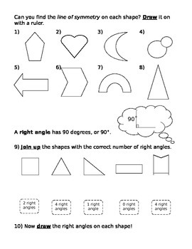 Finding and drawing lines of symmetry & identifying right angles (worksheet)
