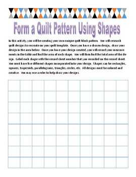 Finding area quilt pattern activity
