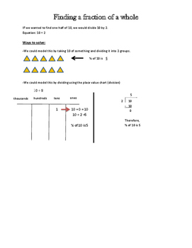 Finding fractions of a whole