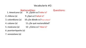 Finding information vocabulary in Spanish