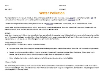Finding main idea from a water pollution passage