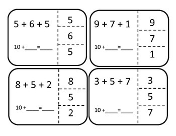 Finding ten when you add three digit numbers