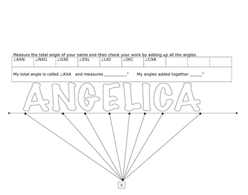 Finding the Angles of Your Name Protractor Activity