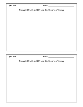 Finding the Area Exit Slip