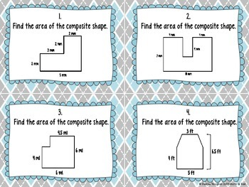 Finding the Area of Composite Shapes Task Cards