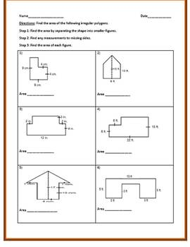 Finding the Area of Irregular Polygons (2 Worksheets)