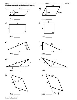 Finding the Area of Polygons Worksheet II by Maya Khalil | TpT