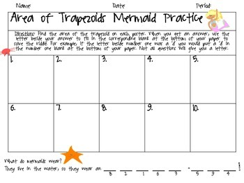 Finding the Area of Trapezoids Mermaid Joke Activity