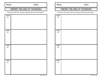 Finding the Area of Trapezoids Task Cards FREEBIE