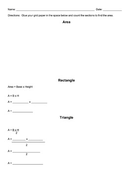 Finding the Area of a Rectangle and Triangle