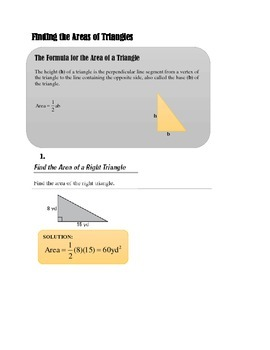 FINDING THE AREAS OF TRIANGLES