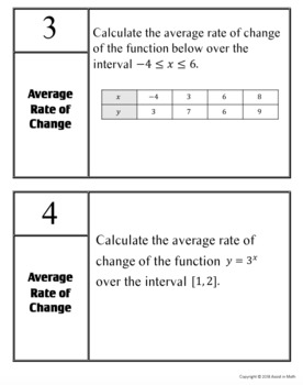 Finding the Average Rate of Change Activity