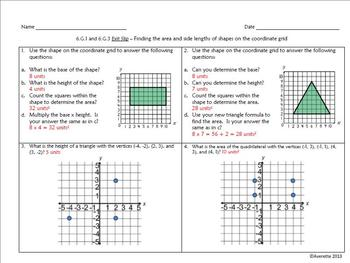 Finding the Base, Height, and Area of Shapes on the Coordinate Grid 6.G.1, 6.G.3