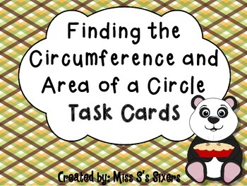 Finding the Circumference and Area of a Circle Task Cards