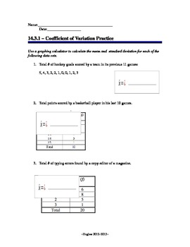Finding the Coefficient of Variation Worksheet
