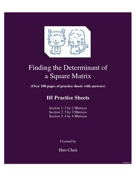 Finding the Determinant of a Square Matrix (HI Practice Sheets)