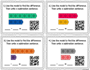 Subtraction QR Code Task Cards {Models & Word Problems} 2.OA.1