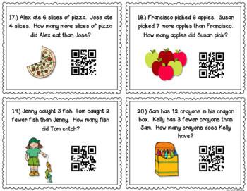 Subtraction QR Code Task Cards {Models & Word Problems} 2 OA 1