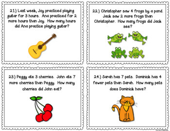 Subtraction Task Cards {Models & Word Problems} 2.OA.1