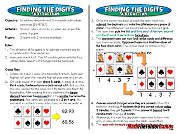 Finding the Digits - Addition & Subtraction - 5th Grade Game [CCSS 5.NBT.B.7]