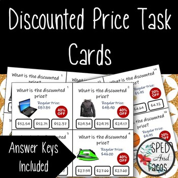 Finding the Discounted Price Task Cards