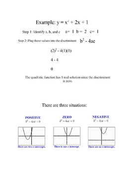 Finding the Discriminant Lesson