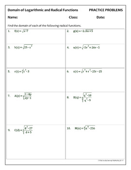 Finding the Domain of Logarithmic and Radical Functions