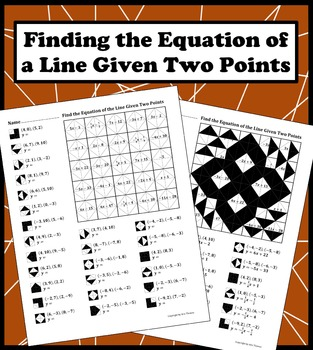 Finding the Equation of a Line Given Two Points Color Worksheet