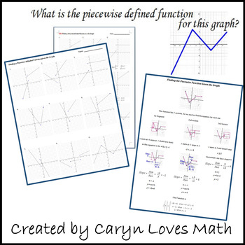 Finding the Equations for the Graph of a Piecewise-Defined Function  Worksheet