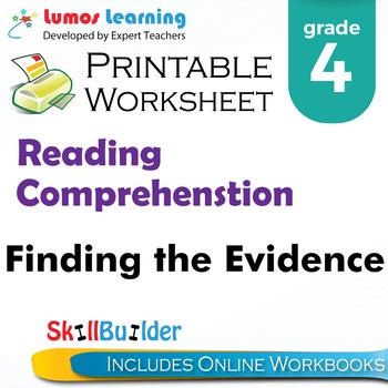 Finding the Evidence Printable Worksheet, Grade 4