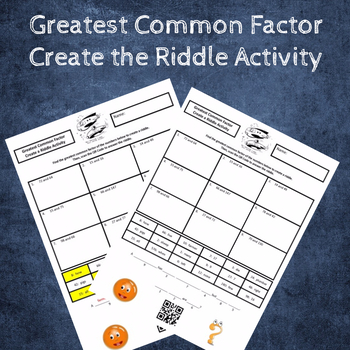 Finding the Greatest Common Factor (GCF) Create the Riddle Activity