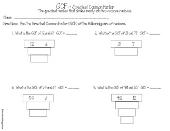 Finding the Greatest Common Factor (GCF) Pack