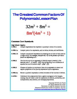 Finding the Greatest Common Factor (GCF) of Polynomials