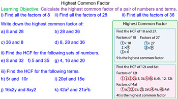 Finding the Greatest Common Factor Grade 6 Math Lesson