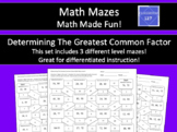 Finding the Greatest Common Factor Math Maze