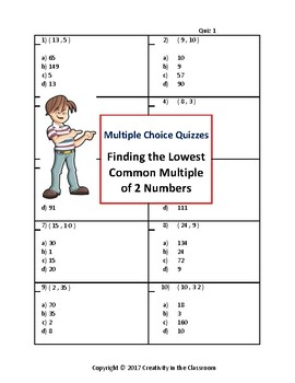 Finding the LCM - Multiple Choice Quizzes