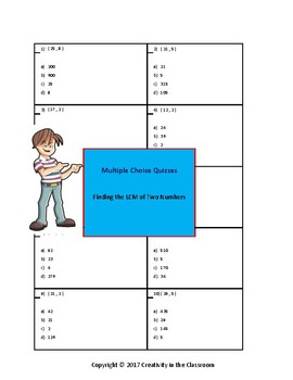 Finding the LCM of Two Numbers  - Multiple Choice Quizzes