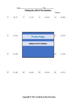 Finding the LCM of Two Numbers  - Practice Worksheets