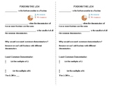 Finding the Least Common Denominator - Fill In Notes