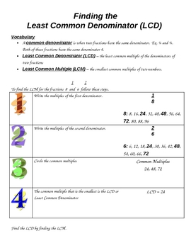 Finding the Least Common Denominator (LCD) - 4.NF.A.2