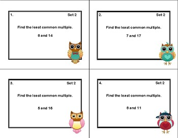 Finding the Least Common Multiple- 64 Task Cards-CCSS-Grade 6 Math