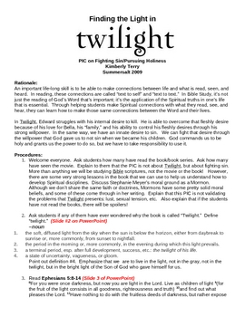 """""""Finding the Light in Twilight"""" Bible Study"""