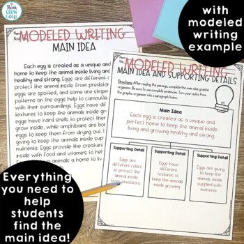 Main Idea Activities and Task Cards