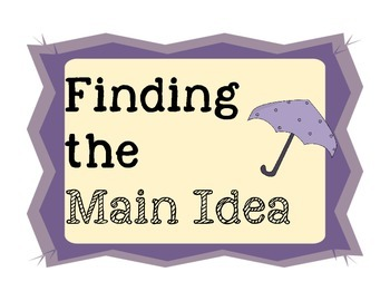 Finding the Main Idea Anchor Chart Parts